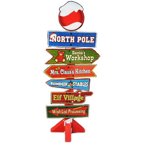 North Pole Christmas Decoration Cardboard Sign