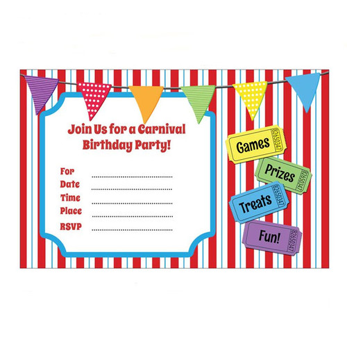 Carnival Themed Birthday Party Invitations