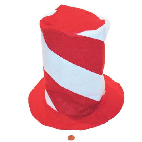 Felt Red & White Swirl Stovepipe Hat