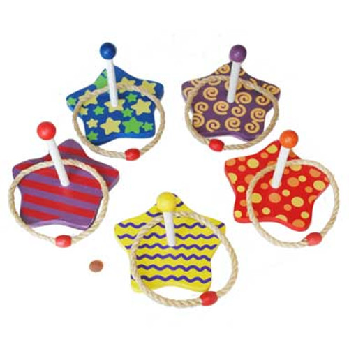 Star Ring Toss Carnival Game (10 wooden stars & 10 rope rings)