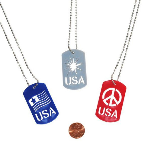 Patriotic Cut-Out Dog Tag Necklaces