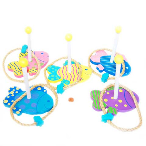 Wooden Fish Ring Toss Set + FREE Blue Plastic Tablecloth (10 total Fish & 10 Rings in 2 boxes)