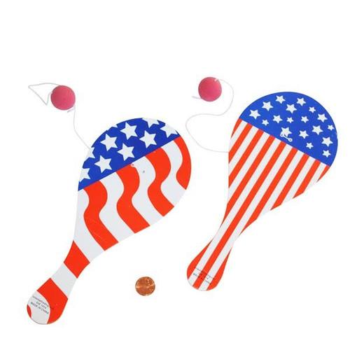 Wooden Patriotic Paddleball Games