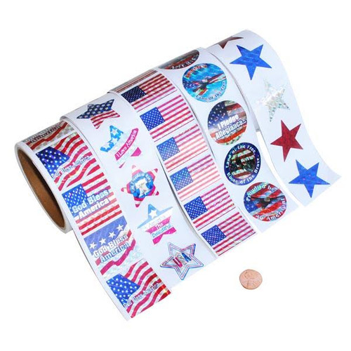 Patriotic Rolls of Stickers Assortment - Wholesale Metallic Sticker Rolls