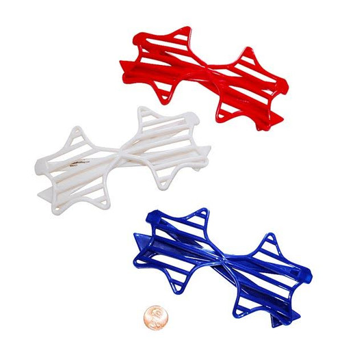 Plastic Red, White And Blue Star-Shaped Shutter Shading Glasses