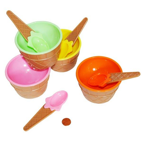 Plastic Ice Cream Dishes with Matching Spoons