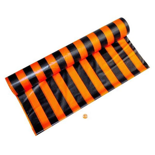 Plastic Orange & Black Striped Tablecloth Roll