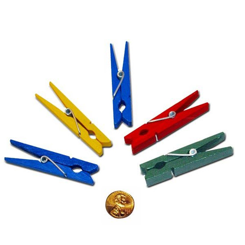 Wooden Bright Colored Clothespin