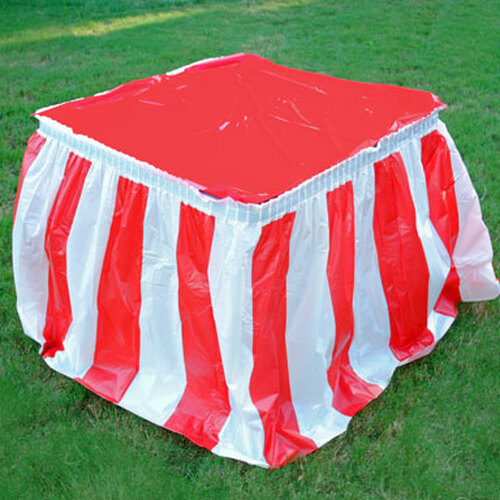 Red White Striped Table Skirt