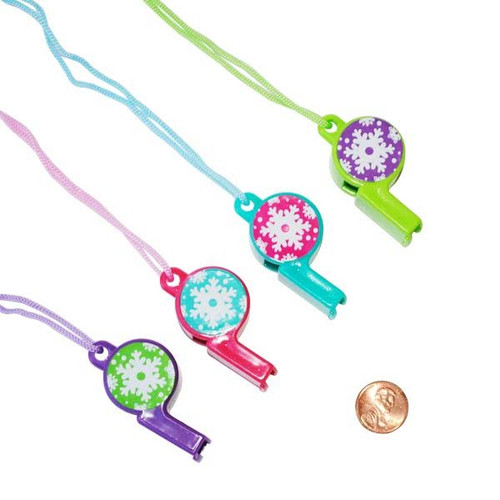 Plastic Winter Brights Snowflake Printed Plastic Whistles