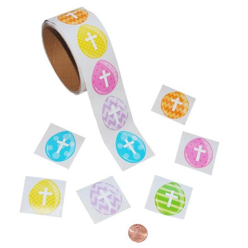 Easter Egg Cross Stickers - Religious Stickers