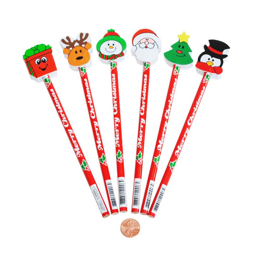 Christmas Pencils with Holiday Erasers
