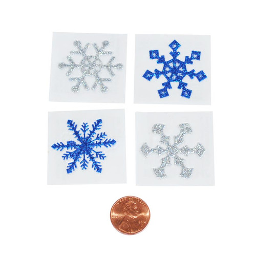 Glitter Blue and Silver Snowflake Removable Tattoos