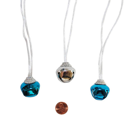 Blue and Silver Winter Jingle Bell Necklaces
