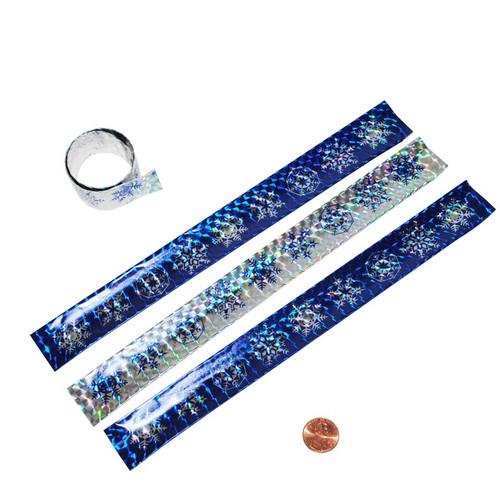Metallic Snowflake Slap Bracelets