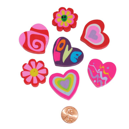 Hearts and Flowers Erasers Wholesale