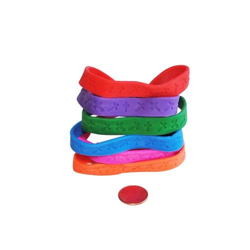 Cross Design Rubber Bracelets - Christian Give Away