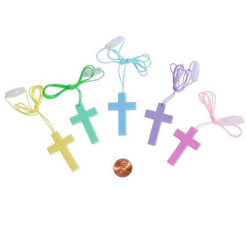 Plastic Pastel Cross Necklaces - Small Toy Wholesale