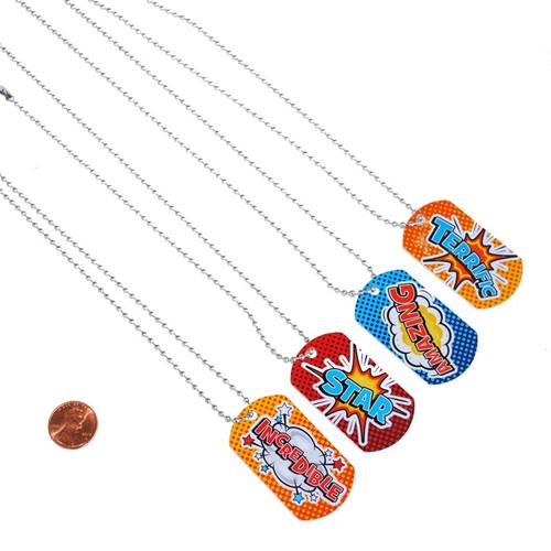 Super Hero Dog Tag Necklaces