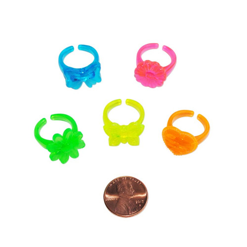 Bright Plastic Ring Assortment