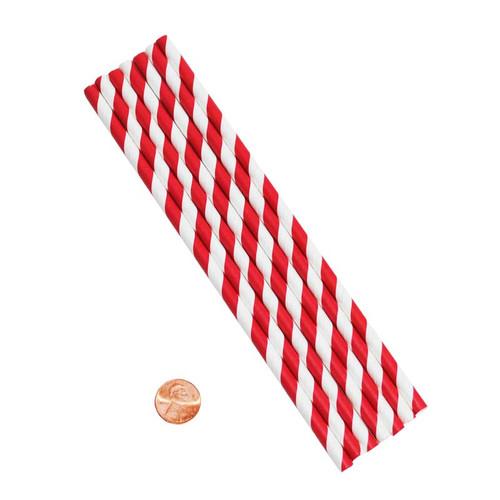 Red & White Striped Paper Straws