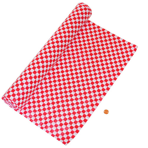Red & White Check Plastic Table Cloth Roll