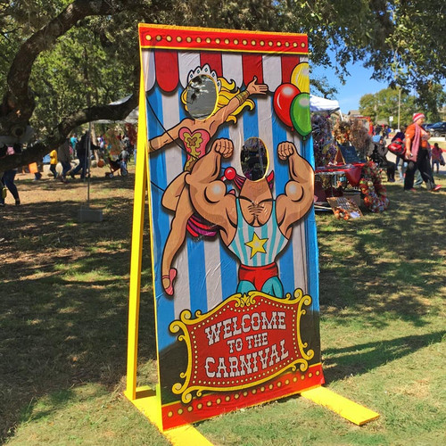 Carnival Photo Booth Prop with Hand made Wooden Frame