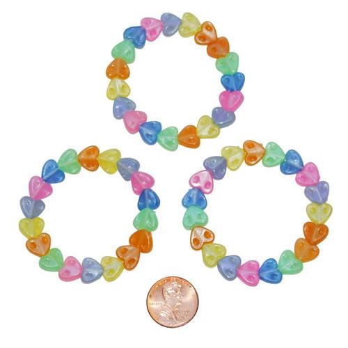 Plastic Pastel Heart Bracelets
