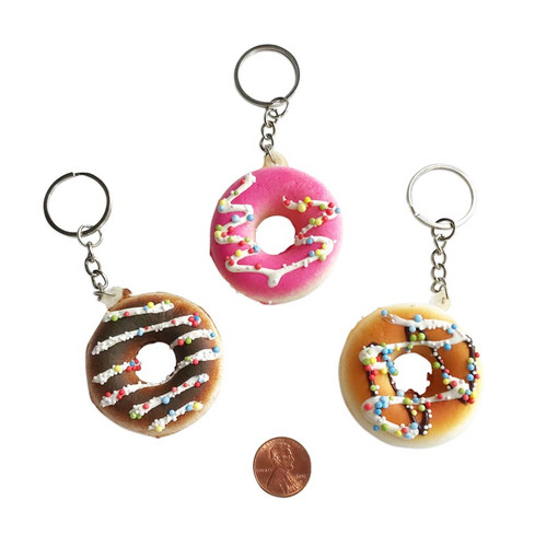 Wholesale Donut Shaped Keychains - Assorted Styles