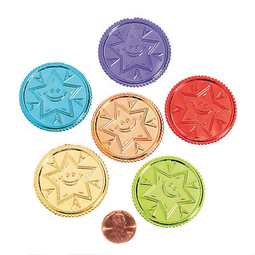 Plastic bright Colored Star Coins