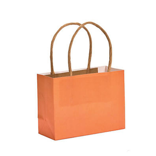 Mini orange paper kraft gift bags wholesale