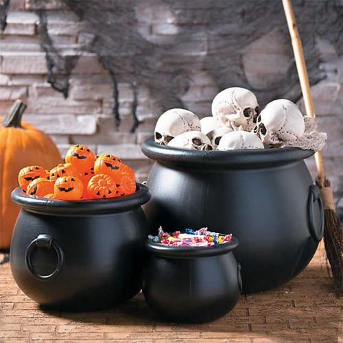 Plastic Black Large Halloween Cauldrons Set - 3 Sizes