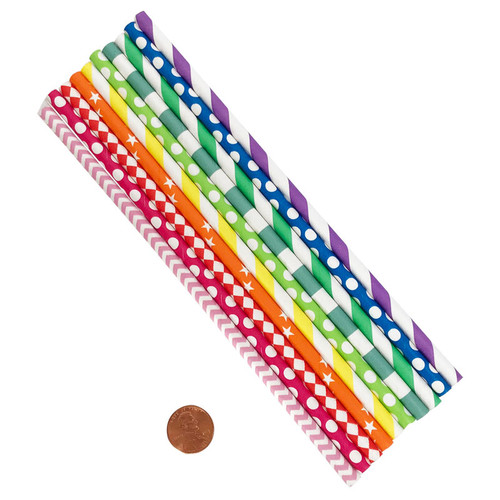 Bright Colored Assorted Paper Straws - Wholesale  Bulk