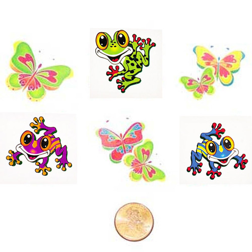 Butterfly and Frog Temporary Kids Tattoos