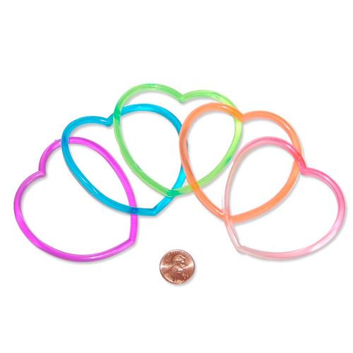 Heart Shaped Plastic Bracelets - wholesale girls toys prizes