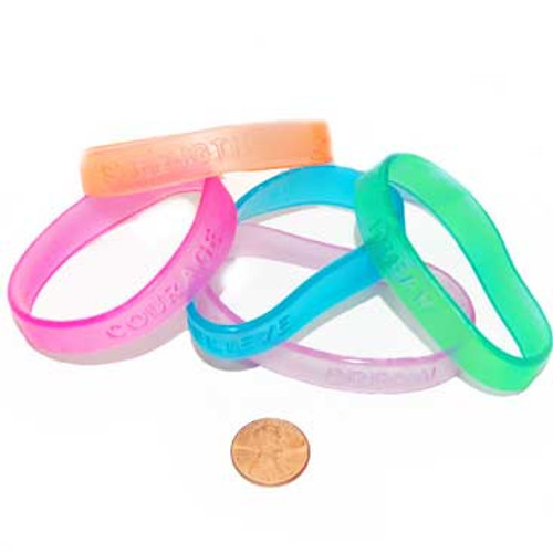 Clear Sayings Bracelets (48 total bracelets in 2 bags) 23¢ each