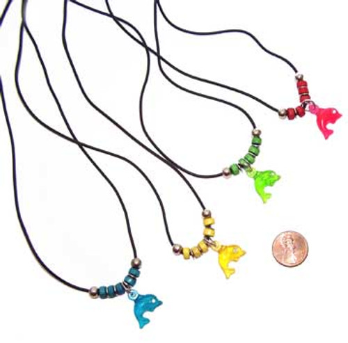 Plastic Dolphin Necklace (24 total necklaces in 2 bags) 43¢ each