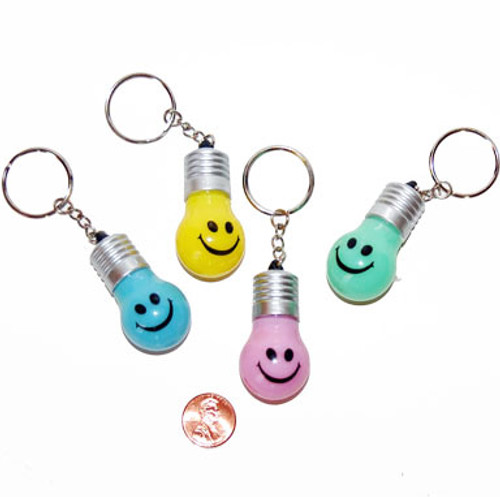 Plastic Smile Face Light Up Key Chain (12/package) 65¢ each