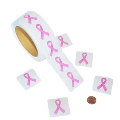 Pink Ribbon Stickers (500 stickers/roll) 1¢ each
