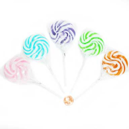 assorted color swirl lollipops