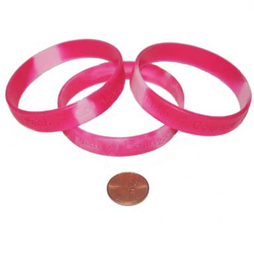 Pink Ribbon Camouflage Inspirational Sayings Bracelets (24 total bracelets in 2 bags) 36¢ each