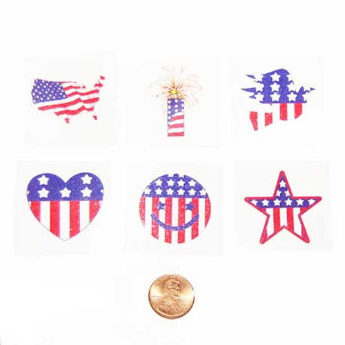 Patriotic Temporary Tattoos (144 total tattoos in 2 bags) 5¢ each