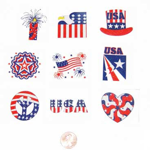 Glitter Patriotic Temporary Tattoos (144 total tattoos in 2 bags) 6¢ each