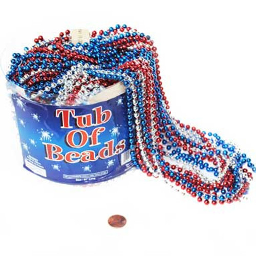 Red Blue and Silver Metallic Bead Necklaces (72/package) 20¢ each