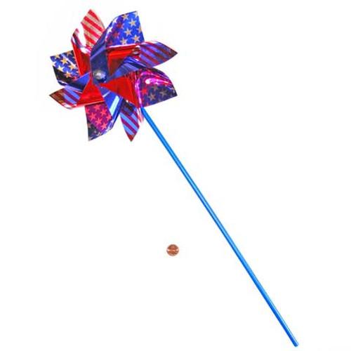 Large Silver Red and Blue Pinwheels (24 total pinwheels in 2 bags) $1.08 each