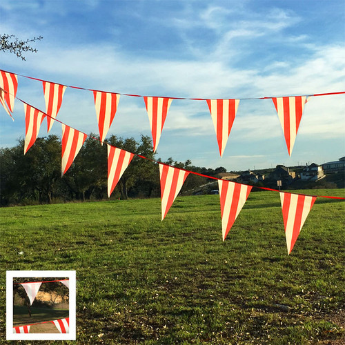 Red White Striped Pennant Banner Carnival Decoration
