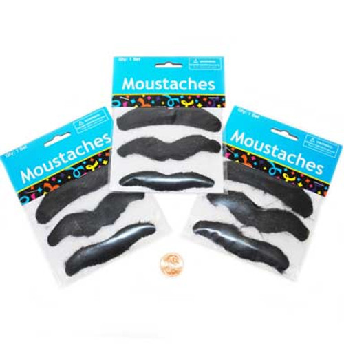 Stick-On Hairy Mustaches (24 total cards in 2 bags) 39¢ each