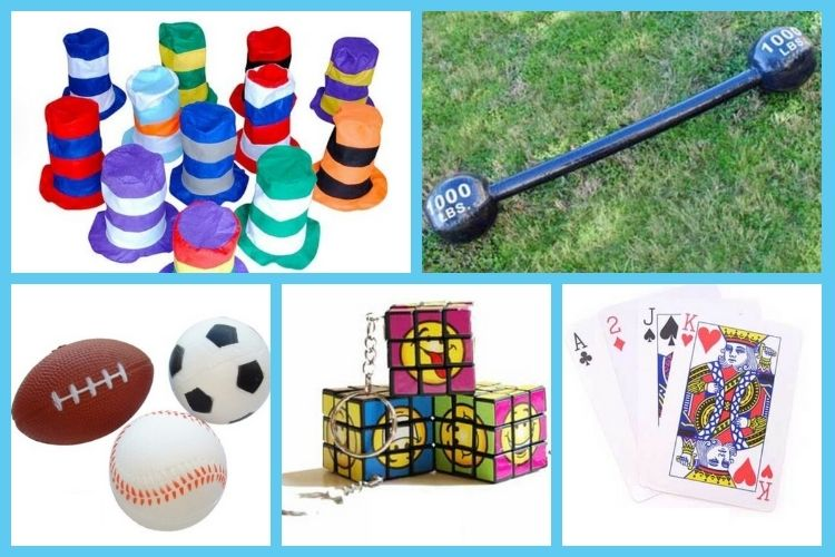 Carnival prizes for adults - hats, stress balls, jumbo playing card and more!