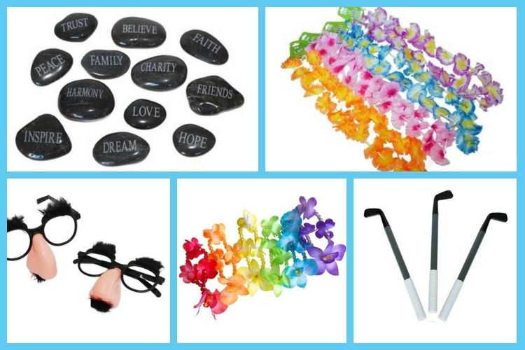 Adult carnival prizes - flower leis, ankle bracelets, unique pens!
