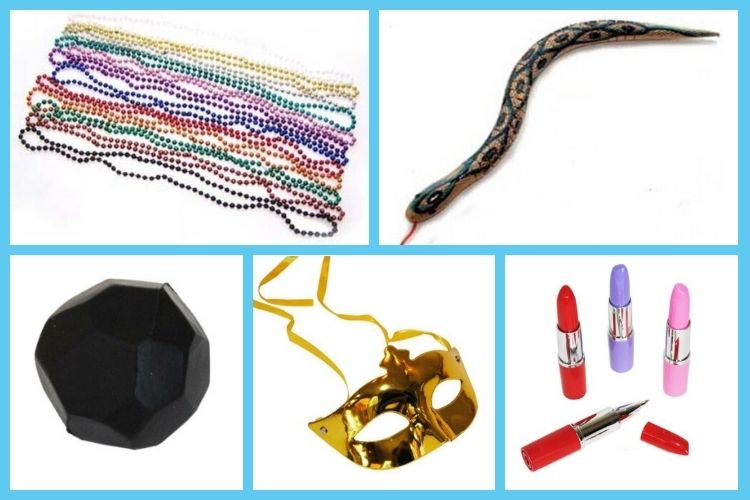 Ideas for adult carnival prizes - bead necklaces, realistic snakes and more!